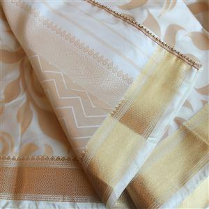 Sari Komplettset Hochzeit Brokat sekt gold