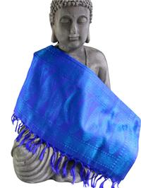 Handgewebter Jacquard Seidenschal 100% Seide türkis-blau-lila Variation-