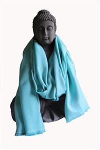 Handgefertigter Seidenschal helltürkis seegrün 45cm x 180 cm Variation-