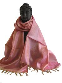 Jacquardschal 100% reine Seide goldbeige rosé Variation-