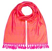 Handgewebter Jacquard Seidenschal 100% reine Seide pink-orange Variation-