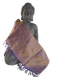 Handgewebter Jacquard Seidenschal 100% Seide violett-gold 55cm x 180cm Variation-