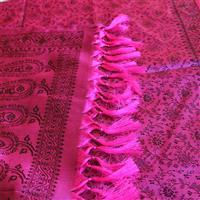 Handgewebter Jacquard Seidenschal 100% reine Seide pink-schwarz Variation-