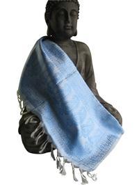 Handgewebter Jacquard Seidenschal 100% reine Seide hellblau-weiss Variation-