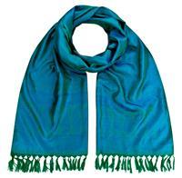 Handgewebter Jacquard Seidenschal 100% reine Seide grün-blauviolett Variation-