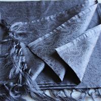 Handgewebter Jacquard Seidenschal 100% reine Seide silbergrau Variation-