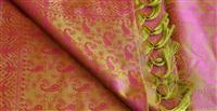 Handgewebter Jacquard Seidenschal 100% reine Seide pistazie pink Variation-