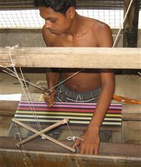 Handgewebter Seidenschal Fairtrade reine Seide Blockstreifen Naturtöne mit Türkis 59 x 190 cm Variation-