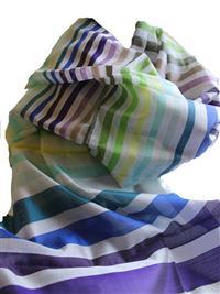 Handgewebter Seidenschal Fairtrade reine Seide Blockstreifen Regenbogen 55 x 180 cm Variation-