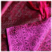 Handgewebter Jacquard Seidenschal 100% Seide purpur-schwarz Variation-