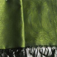 Handgewebter Jacquard Seidenschal 100% reine Seide oliv maigrün 55 x 180 cm Variation-