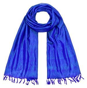 Handgewebter Jacquard Seidenschal 100% Seide türkis-blau-lila