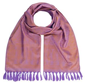 Handgewebter Jacquard Seidenschal 100% Seide violett-gold 55cm x 180cm