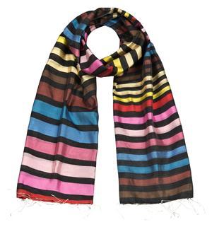 Handgewebter reiner Seidenschal Streifen Fairtrade Regenbogen 55 x 190 cm