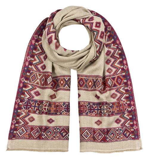 Wollschal 100% Fine Wool Ethnoschal Jamowarschal 70 x 200 cm