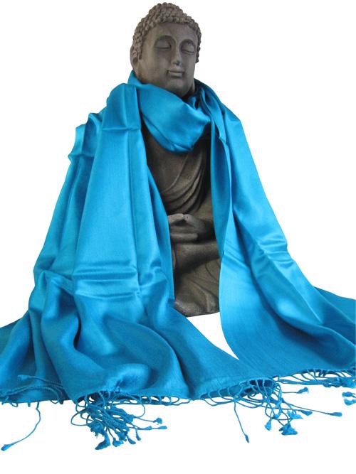Handgewebter Seidenschal türkisblau 45 x 180 cm