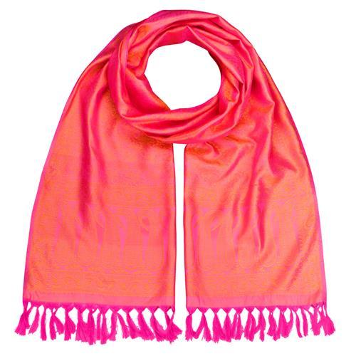 Handgewebter Jacquard Seidenschal 100% reine Seide pink-orange
