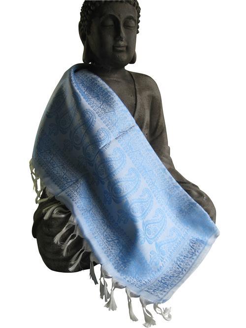 Handgewebter Jacquard Seidenschal 100% reine Seide hellblau-weiss