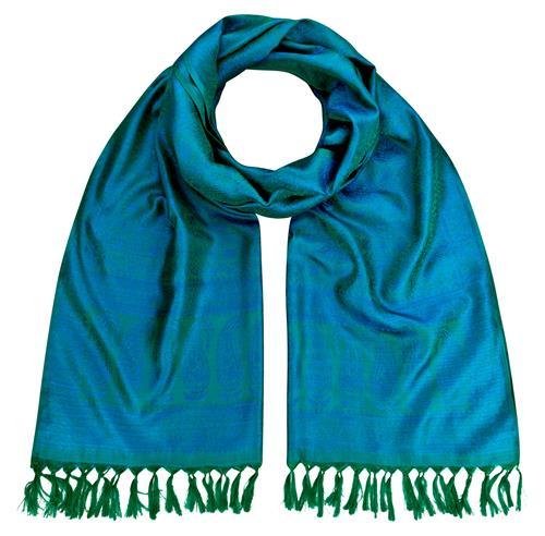 Handgewebter Jacquard Seidenschal 100% reine Seide grün-blauviolett