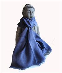Merino Schal Oil washed 100% feinste Merinowolle handgewebt Jeansblau 45 x 180 cm Variation-