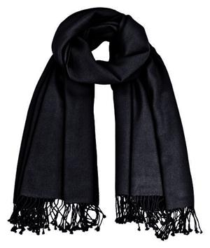 Premium Pashmina schwarz 100% Kaschmir doppelt verzwirnt 90cm x 200cm