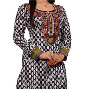 Original Indische Baumwoll Kurti Tunika 7/8 -Arm schwarz weiß mit bunter Bestickung
