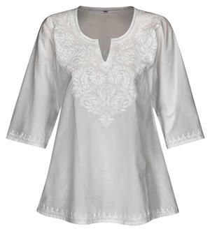 Kurti Klassiker Tunika Bluse reine Baumwolle weiß handbestickt