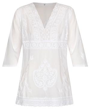 Kurti Tunika Bluse tailliert reine Baumwolle weiß handbestickt