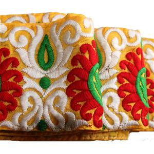 Tibetische gestickte Borte 10 cm breit goldgelb rot weiß grün
