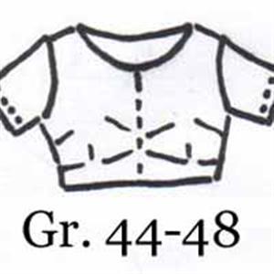 Handgezeichnetes Schnittmuster Choli - Saribluse - Gr. 44-48