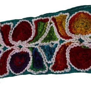 Farbenfroh bestickte Borte 7 cm breit Reststück 140 cm lang