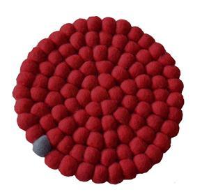 Fairtrade Filz Topf Untersetzer rot 22 cm handgefertigt aus reiner Wolle, hitzebeständig