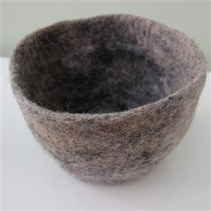 Filz Übertopf Korb Aufbewahrung Scandic Design reine Wolle handgefertigt kiesel Durchmesser ca. 21 cm