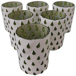 Teelichter Marrakesch 6er Set handgefertigt mit Glastropfen grün weiss