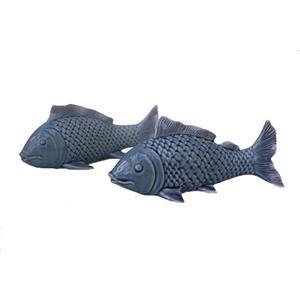Fisch Deko Paar großer Fisch kleiner Fisch Keramik blau