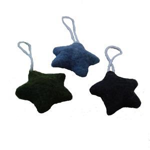 Filzsterne Deko 3er Set 6 cm blau grün Geschenkanhänger Baumschmuck Kinderzimmerdeko
