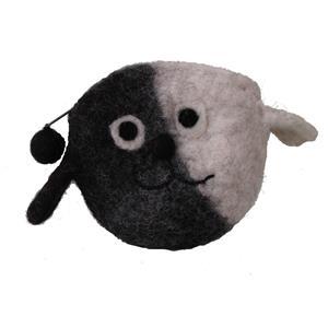Fairtrade Portemonnaie Friendly Dog reine Wolle handgefilzt schwarz weiß