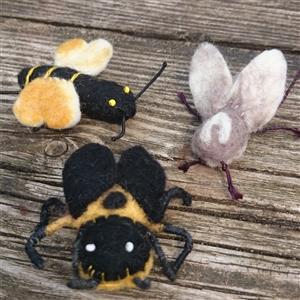 Käfer und Bienen Bande handgefilzt 3er Set 6-7 cm