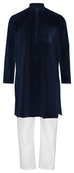 Kurta Pajama Fairtrade dunkelblau weiß 100% Baumwolle