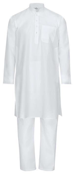 Fairtrade weißer traditioneller indischer Kurta Pajama Yoga Massage Wellness Anzug aus feiner Baumwolle in weiß