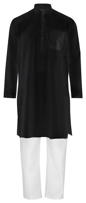 Fairtrade Traditioneller indischer Kurta Pajama, Yoga-, Massage-, Wellnessanzug aus feiner Baumwolle in schwarz weiß