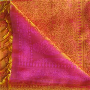 Handgewebter Jacquard Seidenschal 100% reine Seide orange-pink