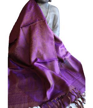 Handgewebter Jacquard Seidenschal 100% reine Seide goldbraun violett