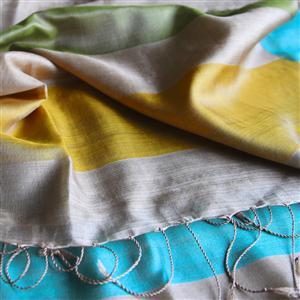 Handgewebter Seidenschal Fairtrade reine Seide Blockstreifen Naturtöne mit Türkis 59 x 190 cm