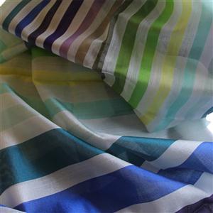 Handgewebter Seidenschal Fairtrade reine Seide Blockstreifen Regenbogen 55 x 180 cm