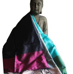 Handgewebter Seidenschal Fairtrade reine Seide 45 x 185 cm
