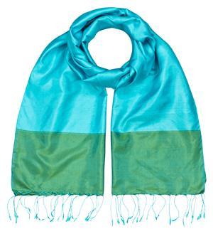 Handgewebter Seidenschal Fairtrade 3 brilliante Farben reine Seide 45 x 185 cm