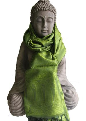 Handgewebter Jacquard Seidenschal 100% reine Seide oliv maigrün 55 x 180 cm