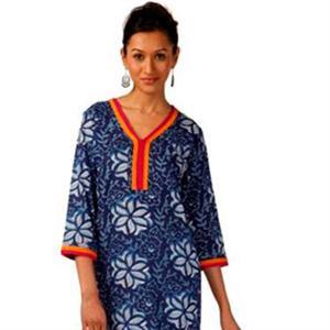 Original Indische Kurti Tunika 3/4-Arm blau 100% Baumwolle Gr. 36-44