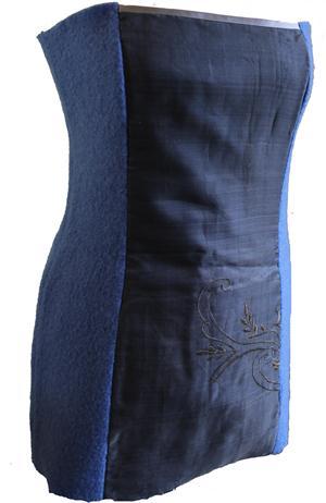 B-Ware Musterstück Korsage aus antikem Saristoff und Wollwalk Gr. 36